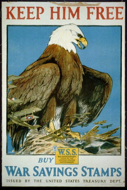 Keep Him Free, American Eagle - War Savings Stamps - Vintage Treasury Dept. Poster, free download, graphic design, military, poster, retro prints, travel, travel posters, treasury department, united states, vintage, vintage posters, war,