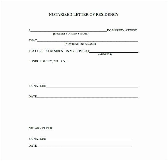 Notarized Letter Template Word Awesome Proof Residency Notarized Letter Flowersheet Letter Template Word Letter Templates Printable Letter Templates