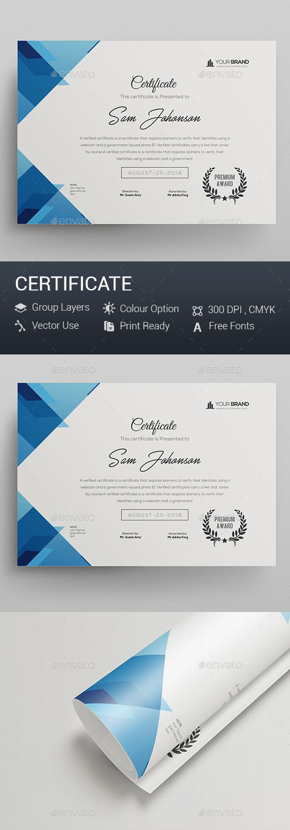 Certificate — Photoshop PSD #certificate design #standard • Download ➝ https://graphicriver.net/item/certificate/20263379?ref=pxcr