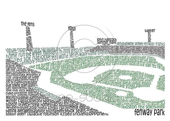 This was given as a gift at a Bridal shower I was at. Such a great idea!    8x10 Matted Word Art Print  Fenway Park by ReStudios on Etsy, $28.00