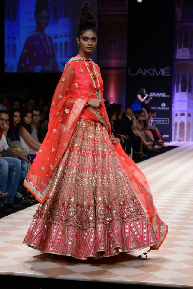 Red lengha by Anita Dongre at LFW 2013