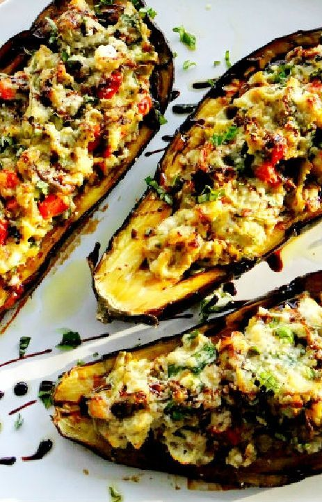 Low FODMAP and Gluten Free Recipe - Stuffed eggplant with spinach, feta & quinoa - http://www.ibssano.com/low_fodmap_recipe_spinach_feta_quinoa.html
