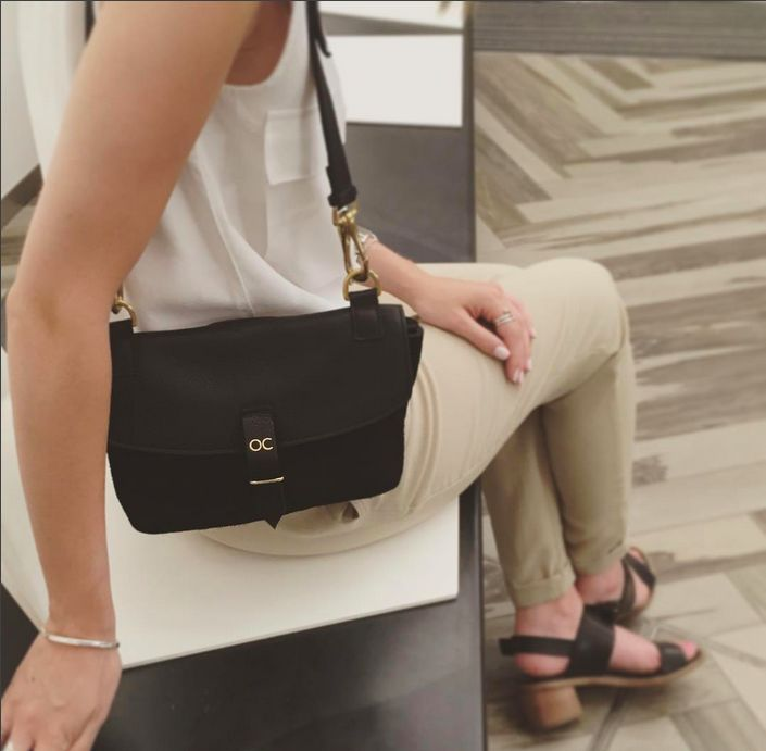 Our Mini Olive Bag in Black Leather & Suede, Available at olivecooper.com