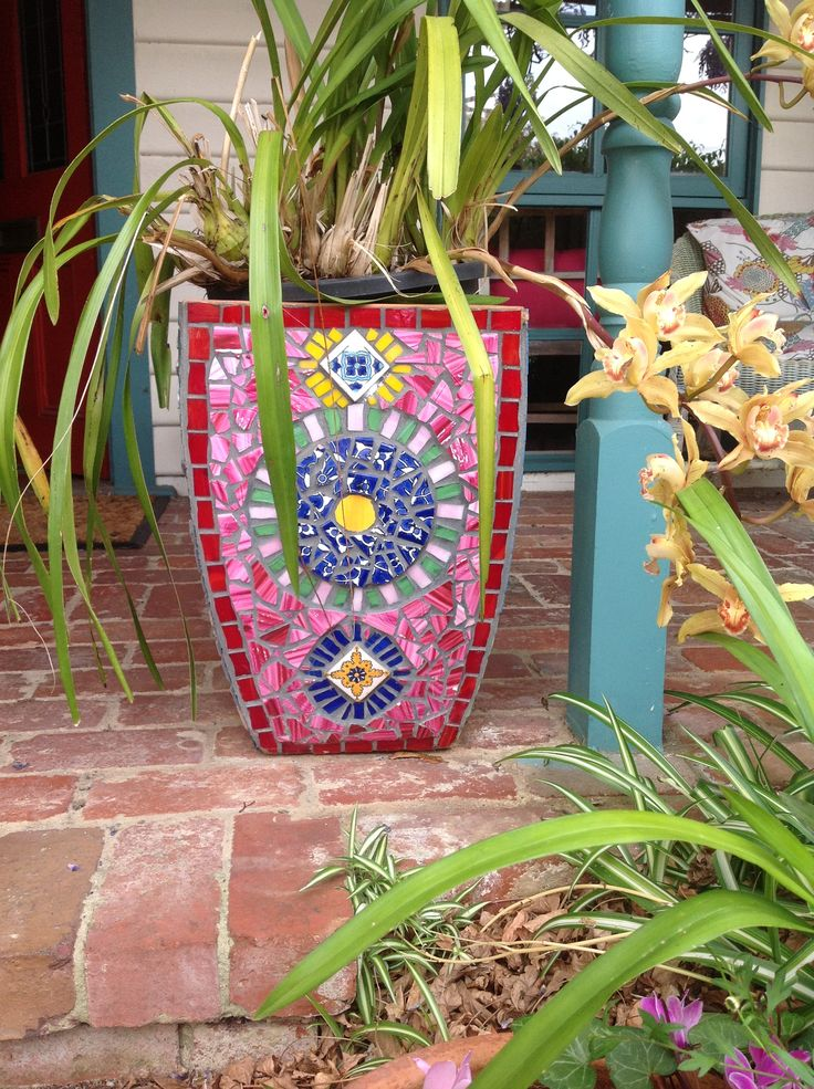 Mosaic pot hand painted and glass tiles made in Noosa Heads Qld Australia