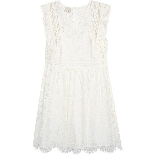 See this and similar Pinko day dresses - PINKO ivory lace mini dress Ruffled trims, waist pleats, scalloped eyelash hem, slip to line Concealed zip fastening at...