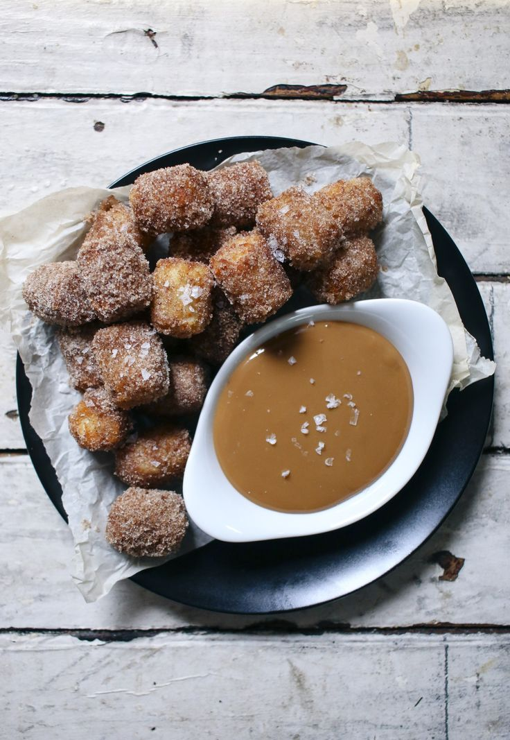 churro tater tots with homemade dulce de leche
