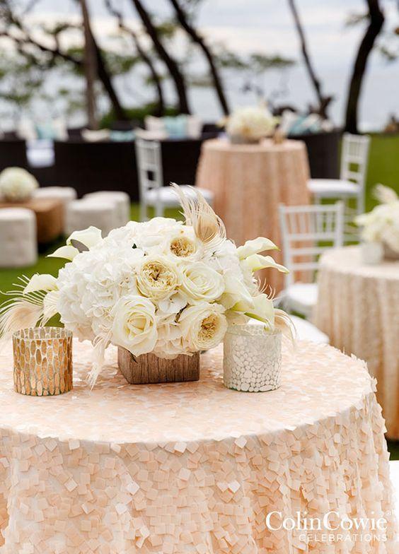 Chic blush al fresco wedding reception; Featured Photographer: Colin Miller
