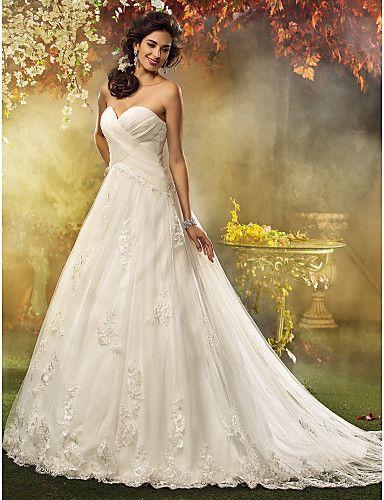 Lanting A-line / Princess Petite / Plus Sizes Wedding Dress - Ivory Court Train Sweetheart Tulle 2016 - $149.99
