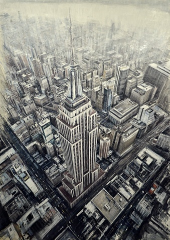 This piece draws in all the lines and angles of the buildings to focus in on the ground below the main skyscraper. This instills a blur to the image, loosing focus as you move your eyes away from the focal point.