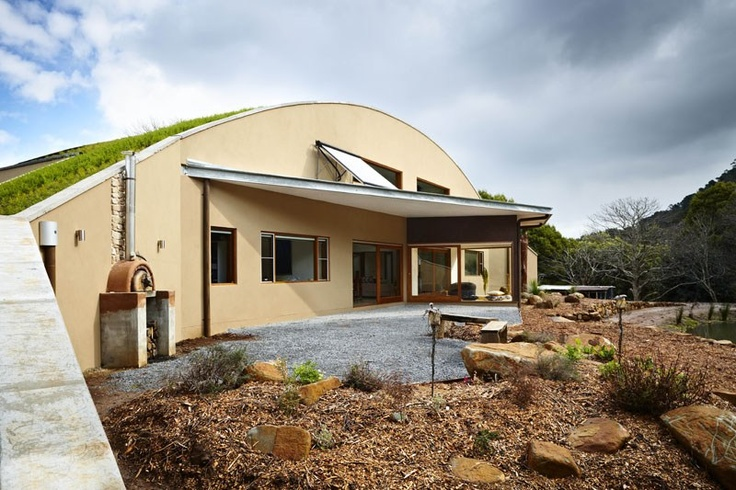 Ty and Haileys house on Grand Design Australia, Season 3.  Warburton Arch House  Check out the gorgeous natives on the roof. I planted loads of those!  Extremely Sustainable House!