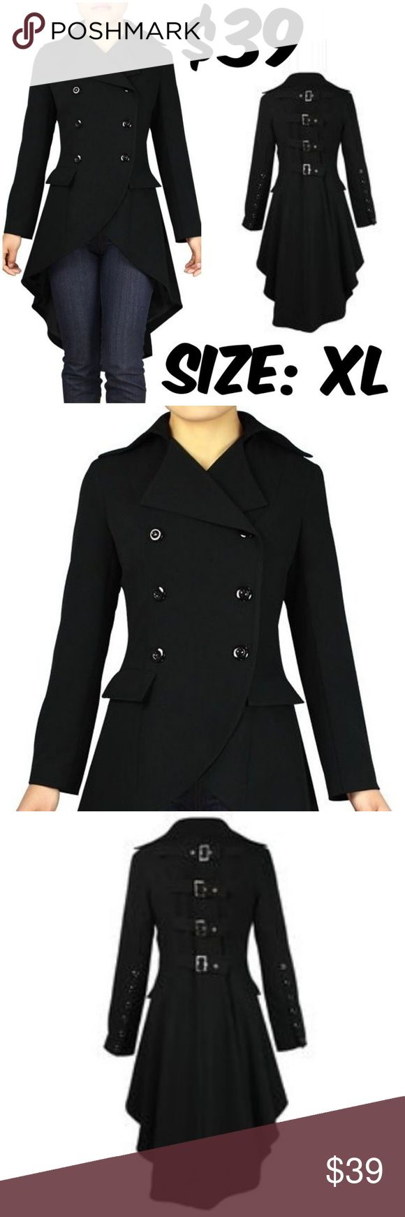 """STEAMPUNK GOTHIC PUNK ROCK BUCKLE COAT JACKET ITEM #191 PRICE: $39 BUST: 40"""" WAIST: 32"""" CONDITION: NEW Jackets & Coats"""