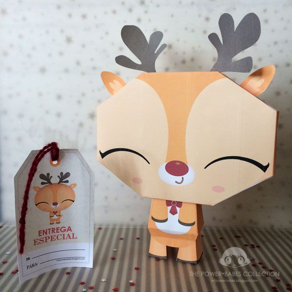 Free printable cute reindeer paper toy and tags