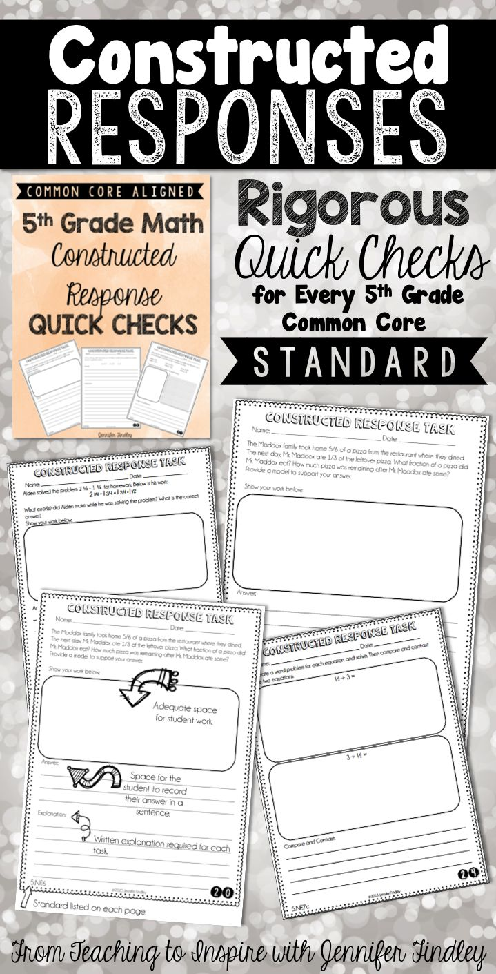 Constructed Response Math Tasks! This resource includes 36 constructed response quick checks: one per standard (including each substandard) for the 5th Grade Common Core Math Standards.