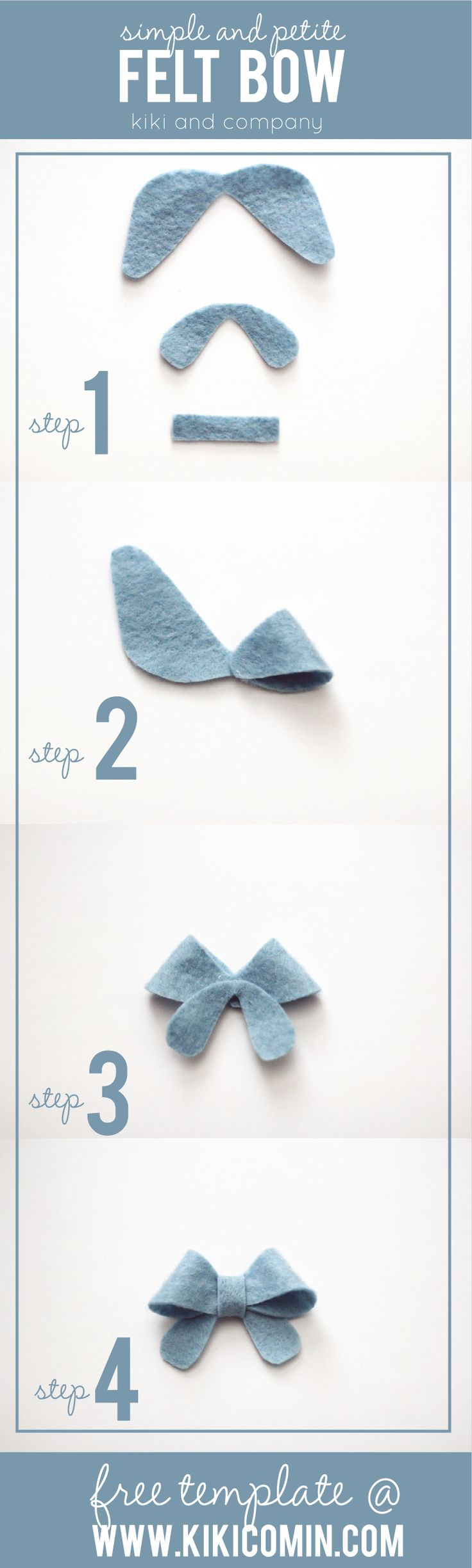 simple and petite felt bows at kiki and company with free template!