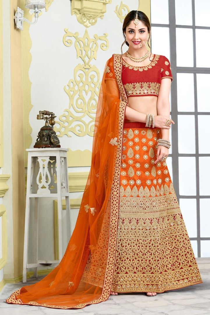 Designer Silk Lehenga choli with stone and gold zari work