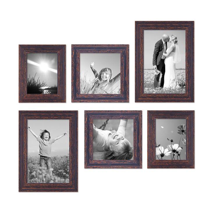 6er-Set Bilderrahmen Dunkelbraun Shabby-Chic Vintage, 15x20, 20x20 und 20x30 cm, inkl. Zubehör, Fotorahmen / Nostalgierahmen  Rahmen-Stil Shabby-Chic / Vintage