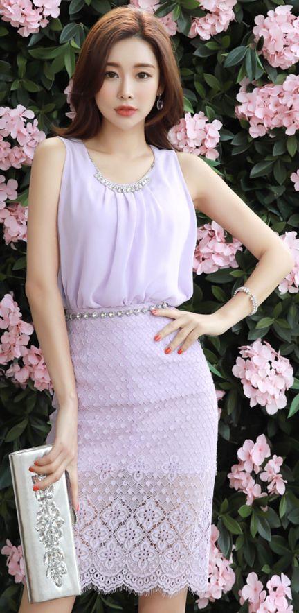 StyleOnme_Lace See-through H-Line Skirt #purple #lace #sheer #pencilskirt #feminine #koreanfashion #kstyle #kfashion #springtrend #dailylook