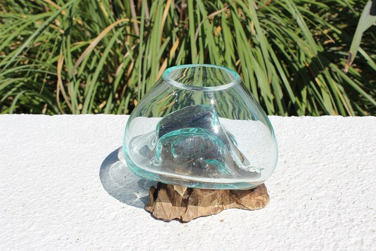 Mini Blown Glass and Teak Wood Sculpture/ Terrarium by Indigomtnartandhome on Etsy