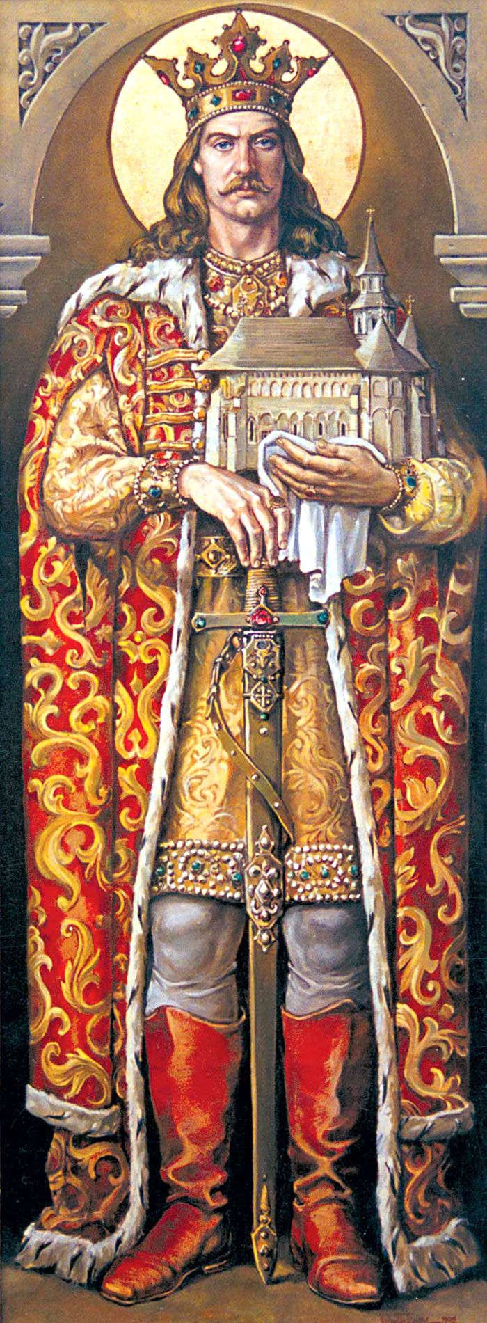 Prince Stephen III The Great (c 1435-2 Jul 1504 age 69) Romania by Unknown Artist, father of Princess Elena (Olena-Ilincu) Stepanovna (?-18 Jan 1505) Romania (wife of Grand Prince Ivan The Young  Ivanovich Rurik (Ioann Ioannovich-Ivan Molodoy) (15 Feb 1458-6 Mar 1490) Russia).