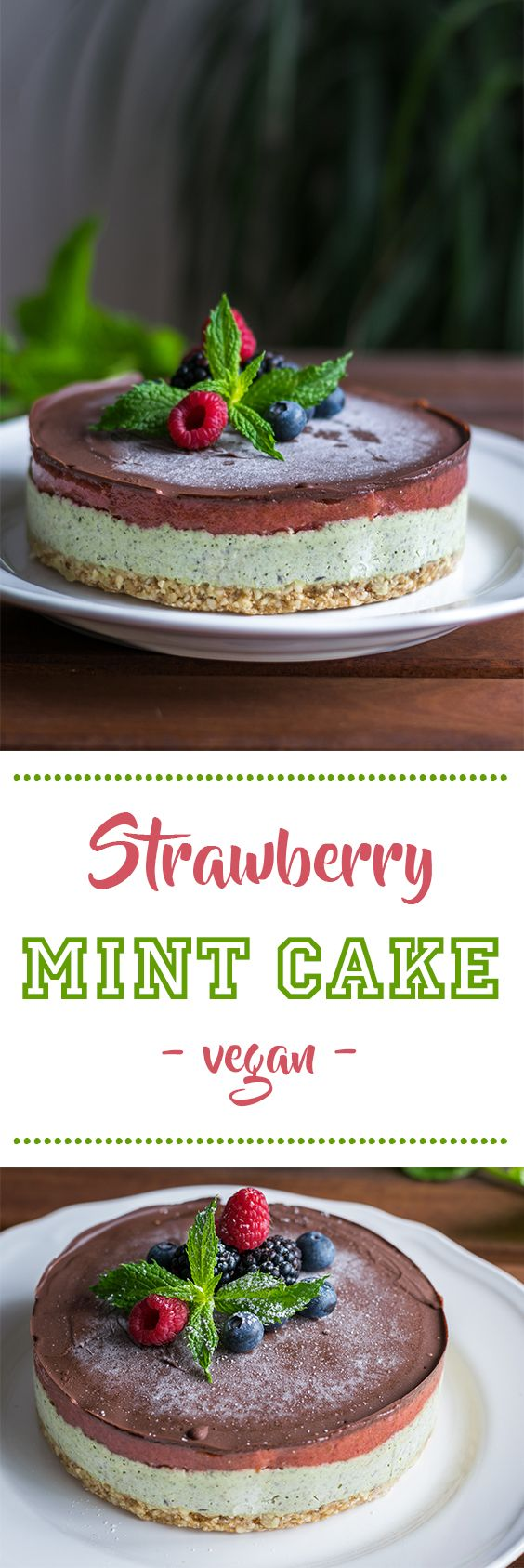 Frozen strawberry and mint cake. This and more recipes at www.eat-vegan.de #nuts #nobake #vegan #mint #strawberries #dessert #frozen