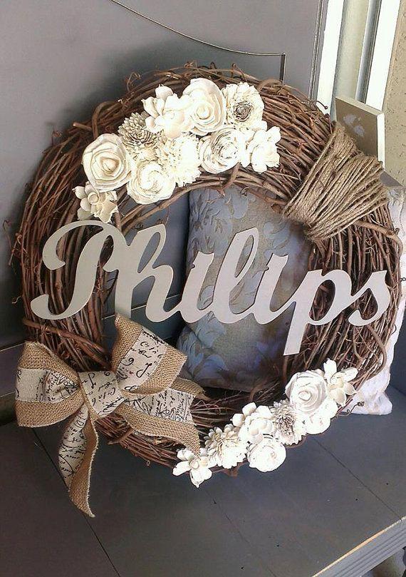 "last name custom wreath 18"""