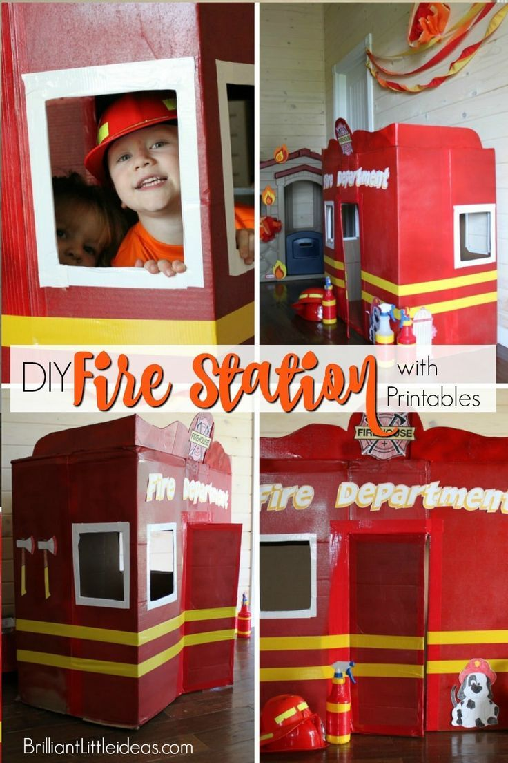 Diy Fire Station With Printables Fire Station Diy Preschool Business For Kids