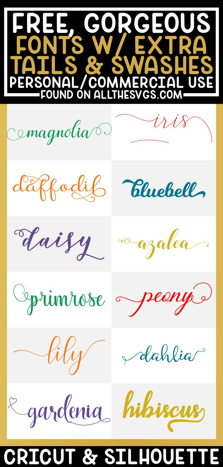 Free Fonts with Tails, Swashes, Extra Glyphs for Cricut