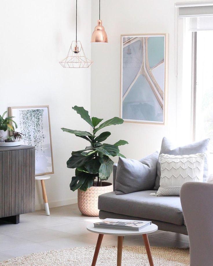 Living Room Inspiration Grey Lounge Fiddle Leaf Copper Lighting Interiors Living Room