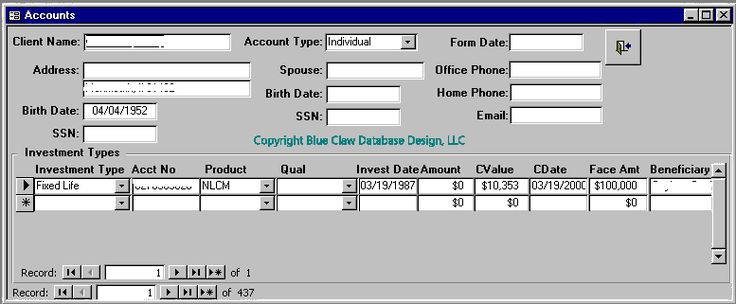 Trading system database