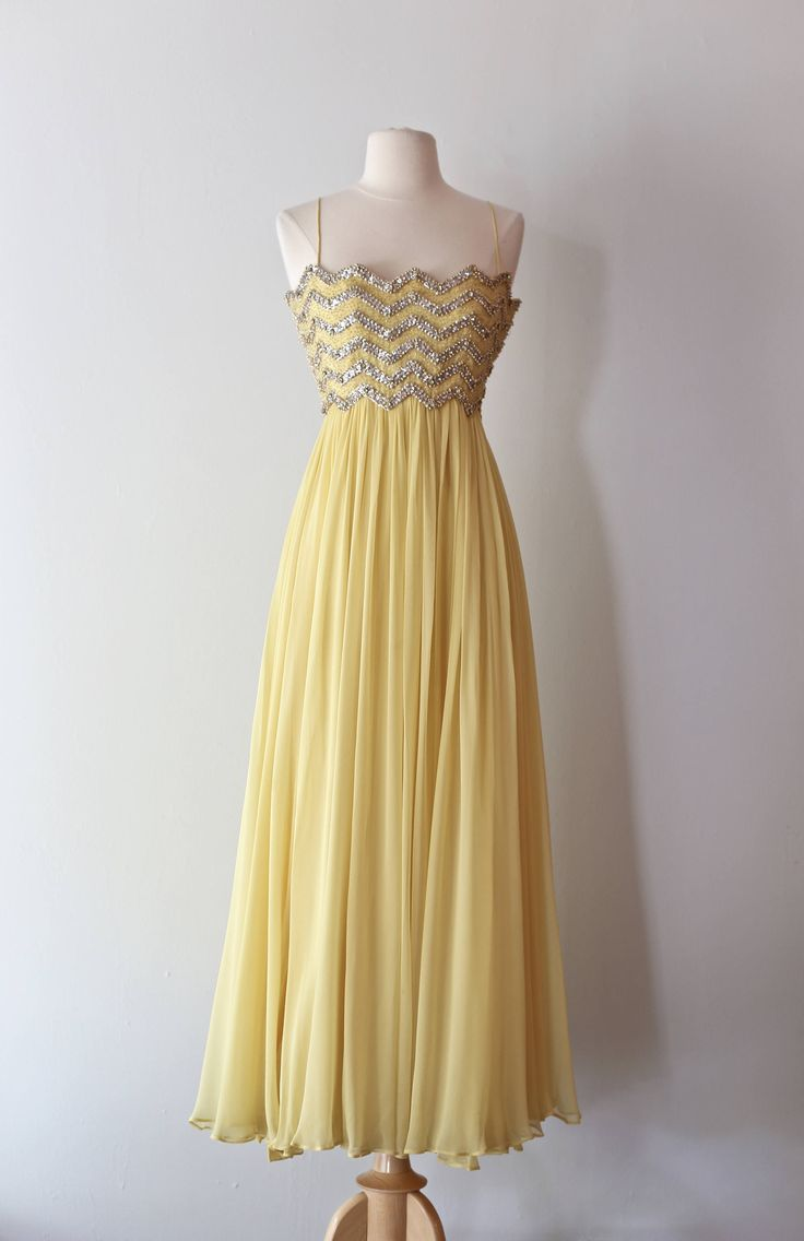 Vintage 1960's Yellow Silk Chiffon and Rhinestone Evening Gown By Malcolm Starr ~ Vintage 60s Malcolm Starr Beaded Dress by xtabayvintage on Etsy