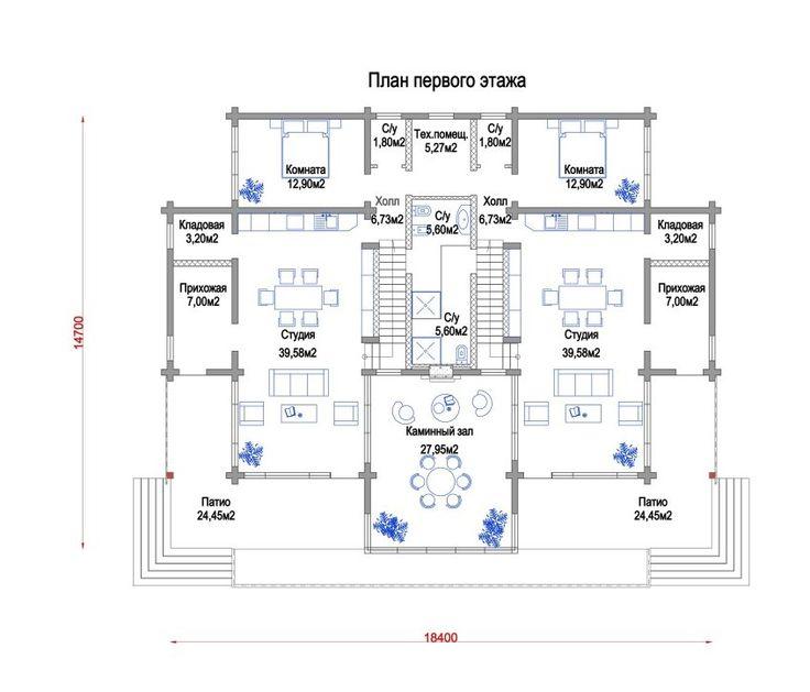 Дуплекс из клееного бруса, подъезд круглый год. (на втором этаже сделана полностью одна комната). На территории есть гараж площадью 40 кв.м. построена первая очередь комплекса.