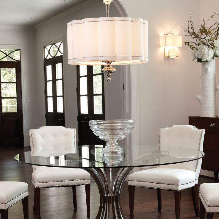 Light over table in kitchen option depending on how big global views lighting fluted nickel - Dining room table chandeliers ...