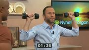 TV4 Nyhetsmorgon anchor Peter Jihde works out with David 'DFlex' Seisay showcasing moves from his book 'Traena med DFlex - Stjaernornas PT'