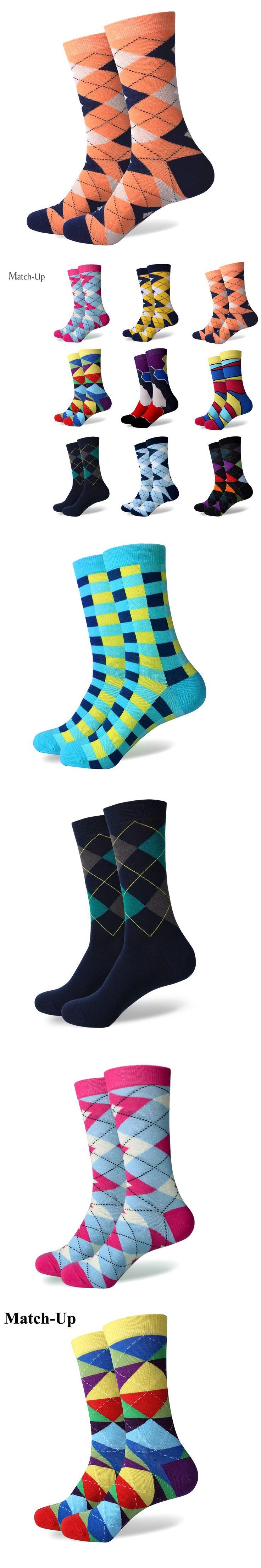 Match-Up Colorful ARGYLE SOCK fun men's Cotton Socks Wedding Gift Socks Free shipping US size(7.5-12)