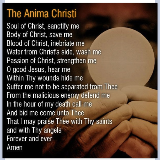 Anima Christi - Soul of Christ, sanctify me. Body of Christ, save me. Blood of Christ, inebriate me. Water from the side of Christ, wash me. Passion of Christ, strengthen me. O good Jesus, hear me. Within Thy wounds hide me, Separated from Thee let me never be.  From the malignant enemy defend me. In the hour of my death call me. And bid me come unto Thee that with thy Saints I may praise Thee forever and ever. Amen.