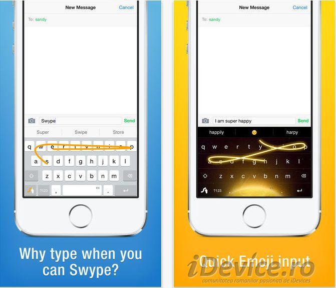 Swype tastatura terță pentru iOS 8 cu suport pentru limba română care este disponibilă gratuit