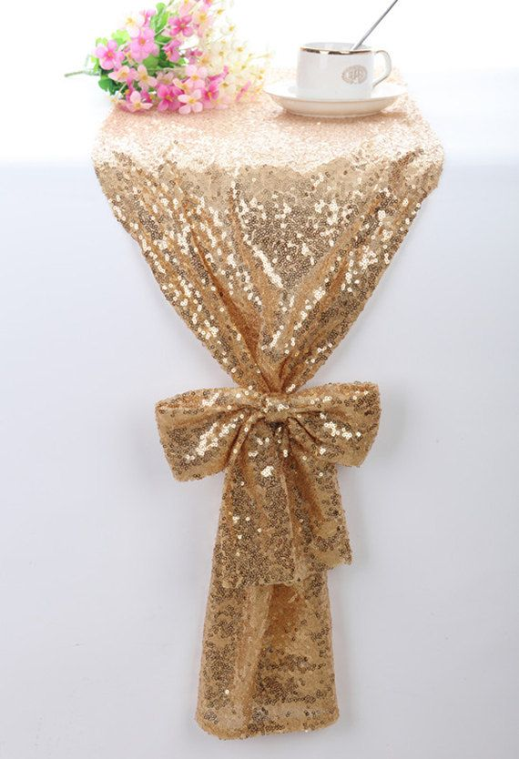 Sequin Table Runner Gold Sparkle Table Runner by BridalWireHanger