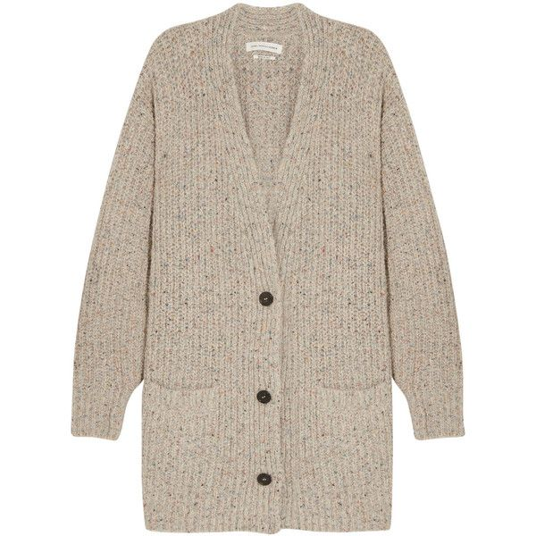 Étoile Isabel Marant Hamilton oversized knitted cardigan ($890) ❤ liked on Polyvore featuring tops, cardigans, beige, brown tops, beige top, multi colored cardigan, beige cardigan and cardigan top