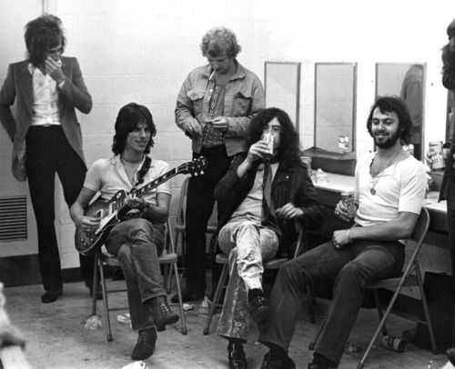 Rod Stewart, Jeff Beck, and Jimmy Page. Backstage, 1969, Filmore East. This was the night John Bonham got so drunk he did a strip on stage and everybody had to run before the cops got them