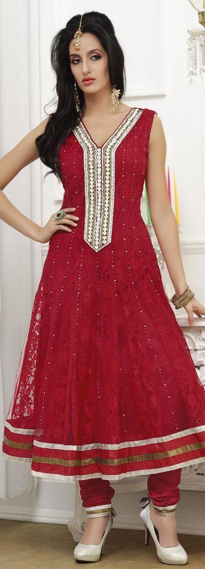 145 05 Red Sleeveless Net Long Anarkali Salwar Kameez