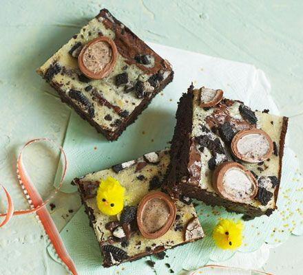 These Oreo-filled cheesecake brownies are the ultimate indulgence. Bake this rich, squidgy chocolate traybake for an Easter sharing treat