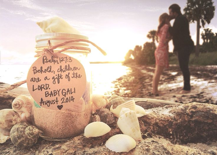 Beach Pregnancy Annoucement My husband and I live in Miami and have family and friends all over the states. We wanted to share our news with the world with a beach theme. They loved it!