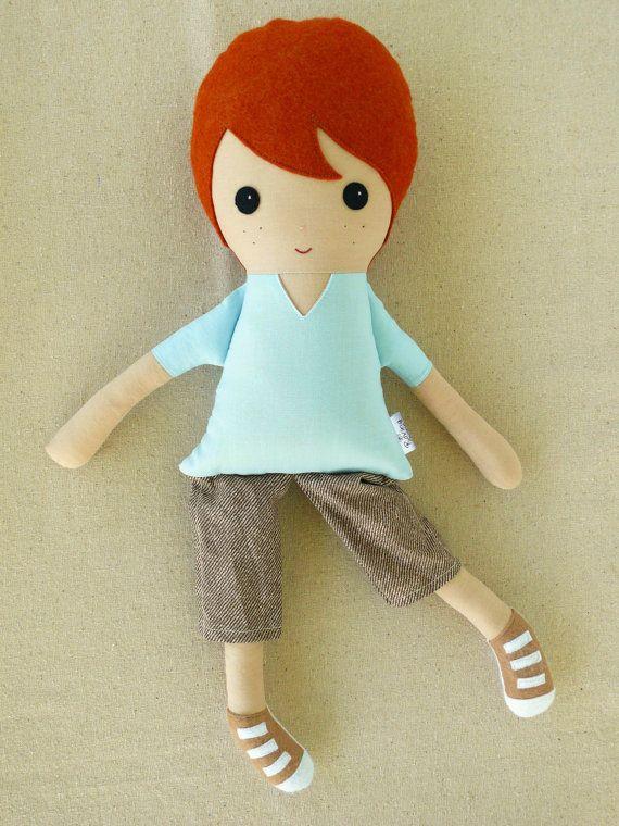 Fabric Doll Rag Doll Boy Doll with Red Hair by rovingovine on Etsy