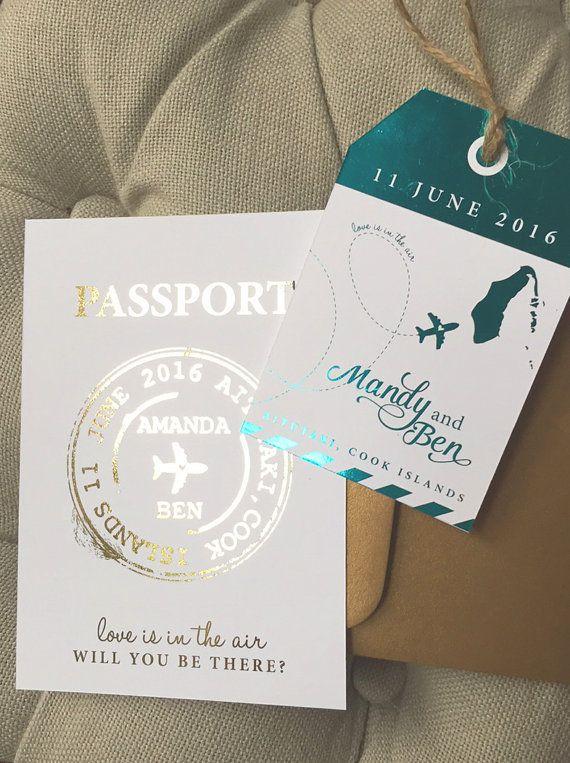 Modern Metallic Passport Wedding Invitation/ by aLITTLEsmallTALK