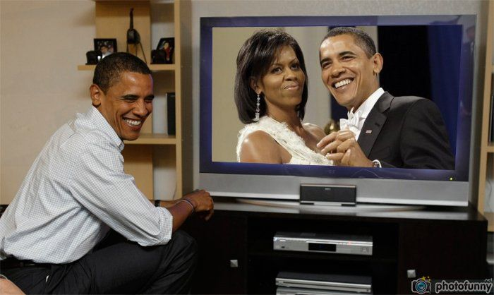 Michelle and Barack Obama watch live television