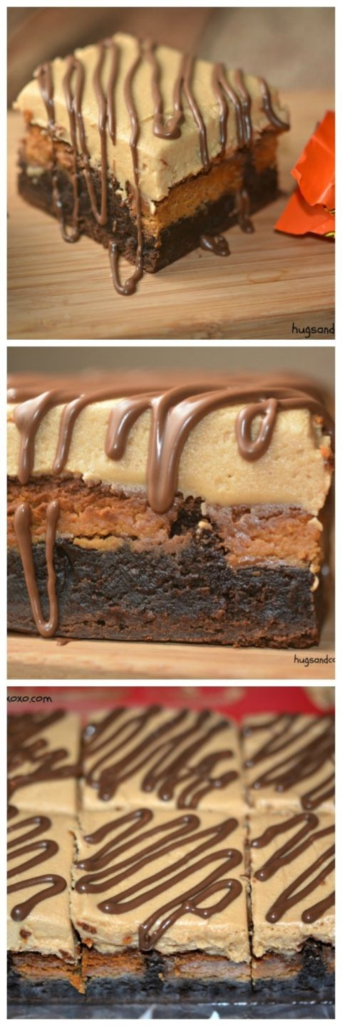 Reese's Stuffed Brownie and Peanut Butter Frosting | Hugs and Cookies XOXO