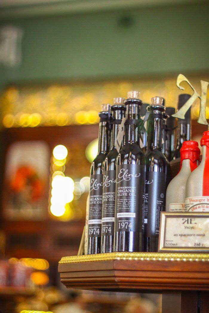 Eliris organic olive oil on retail display at the stunning Kupetz Eliseevs Food Hall in Saint Petersburg, Russia.