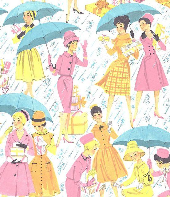 Vintage Gift Wrap Ladies Shower | Illustrator: Unknown