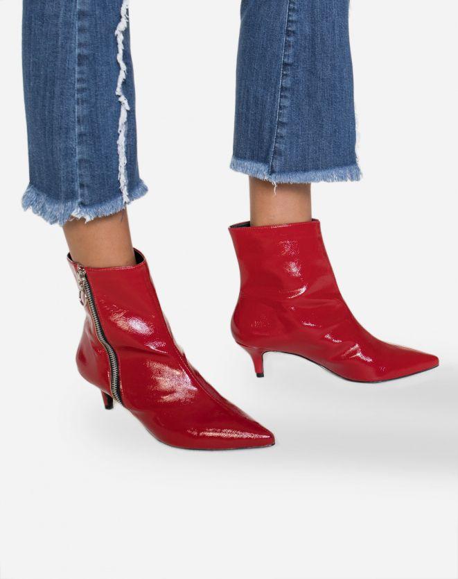 5eff08220a BOTA VERMELHA CANO CURTO VERNIZ SALTO FINO | Tendências Sapatos Femininos |  Botas de Inverno