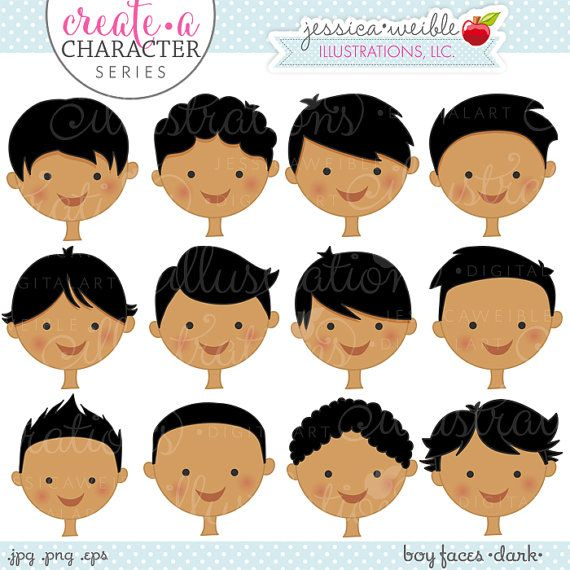Dark Skin Boy Faces  Create A Character Series  by JWIllustrations, $5.00